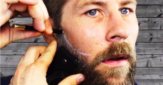 あごひげをアイブロウペンシルでライン付け