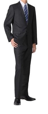 recruit suit スリムスーツ 黒無地 2つボタン