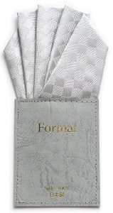 ポケットチーフ 台紙付き(ワンタッチ) ホワイト/シルバー 各4織柄(ファイブピークス)