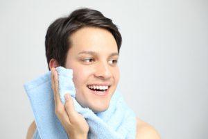 洗顔の締めに冷水